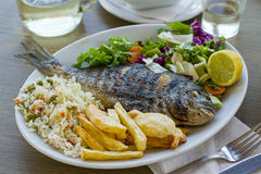 Bream with potato, rice and salad Royalty Free Stock Photography