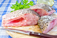 Bream raw with parsley on fabric Royalty Free Stock Photography