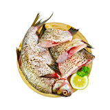 Bream raw on a round board with lemon and parsley Royalty Free Stock Photography