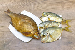 Bream and Vomer closeup on wooden background. horizontal photo. Stock Image