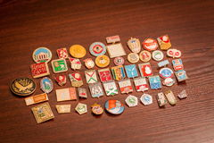 Breast Badges. Collection of Breast Badges of the times of the USSR Royalty Free Stock Images
