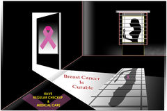 Breast cancer. Awareness message with symbol Royalty Free Stock Images