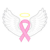 Breast cancer angel. Pink ribbon, vector illustration Royalty Free Stock Photo