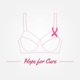 Breast Cancer Awareness Background. Vector elements and inspirat. Ional quotes. Thin line symbols. Hand drawn illustration with place for your text Royalty Free Stock Image