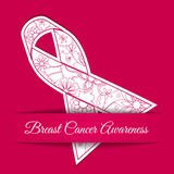 Breast Cancer Awareness Background With Pink Ribbon Stock Image