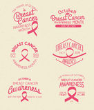 Breast Cancer Awareness Badges. Breast Cancer Awareness Month Hand Drawn Insignia set Stock Image