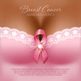 Breast cancer awareness. Month. Silk pink ribbon on the female bust. Vector Illustration Stock Images