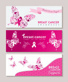 Breast cancer awareness butterfly ribbon banners royalty free illustration