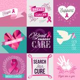 Breast cancer awareness campaign flat design set Stock Images