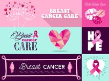 Breast cancer awareness campaign graphic elements set. Flat banner with graphics elements set ideal for social media or online campaign in support of breast Royalty Free Stock Image