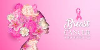 Free Breast Cancer Awareness Card Papercut Flower Woman Stock Photos - 156741353