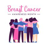 Breast Cancer Awareness card of women friend hug. Breast Cancer Awareness month illustration of diverse women friend group hugging together for help and support stock illustration