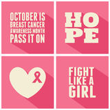 Breast Cancer Awareness Cards Collection. A set of Breast Cancer Awareness cards Stock Image