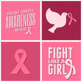 Breast Cancer Awareness Cards Collection. A set of Breast Cancer Awareness cards design with different symbols in pink Stock Images