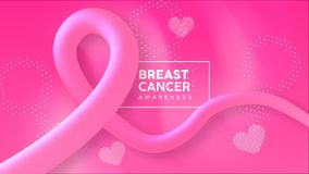 Breast Cancer Awareness 3d pink ribbon animation