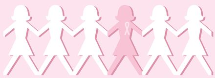 Breast Cancer Awareness Dolls. Illustration of paper chain of dolls. One is pink and wears breast cancer awareness ribbon. EPS8 vector file also available Royalty Free Stock Photos