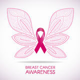 Breast cancer awareness with Dot line Butterfly sign and pink ribbon vector illustration design Stock Images