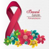 Breast cancer awareness flowers and ribbon. Vector illustration eps 10 Royalty Free Stock Photos