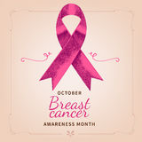 Breast Cancer Awareness. Hand drawn pink ribbon with text. royalty free stock photos