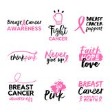 Breast cancer awareness hand drawn text quote set Stock Photos