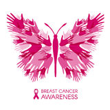 Breast cancer awareness with Hands Butterfly sign and pink ribbon vector illustration Stock Images