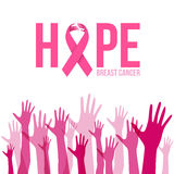 Breast cancer awareness with Hands sign and pink ribbon hope vector illustration Stock Photography