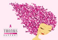 Breast cancer awareness happy woman pink ribbon Royalty Free Stock Images