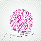 Breast cancer awareness human hand ribbon symbol EPS10 file. Royalty Free Stock Photo