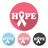 Breast cancer awareness icon. Hope with ribbon Stock Photos