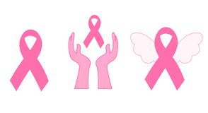 Breast cancer awareness icons Royalty Free Stock Image