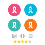 Breast cancer awareness icons. Ribbon signs. Breast cancer awareness icons. Ribbon sign symbols. Calendar, cogwheel and report linear icons. Star vote ranking Stock Photos