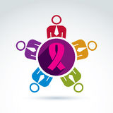 Breast cancer awareness idea. Group of people cooperating – in Stock Image