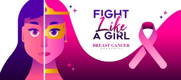 Fight like a girl Breast Cancer Awareness concept stock illustration