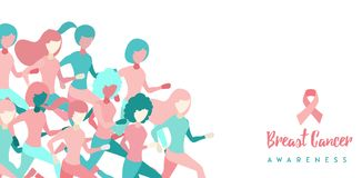 Breast Cancer Awareness girl group run concept. Breast Cancer Awareness illustration of women group running for charity marathon, benefit event or health support royalty free illustration