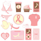 Breast cancer awareness items collection Royalty Free Stock Image