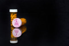 Breast cancer awareness lids on prescription vial Stock Photos
