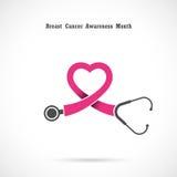 Breast cancer awareness logo design.Breast cancer awareness mont Stock Photos