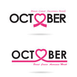 Breast cancer awareness logo design.Breast cancer awareness Stock Image
