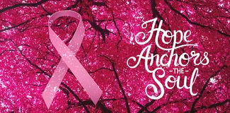 Composite image of breast cancer awareness message. Breast cancer awareness message against full frame shot of trees growing stock illustration