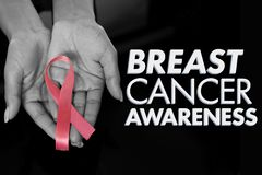Composite image of breast cancer awareness message. Breast cancer awareness message against hands show pink ribbon stock photos