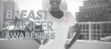 Composite image of breast cancer awareness message stock photography