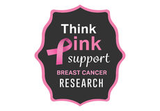 Breast cancer awareness message on poster Stock Photos