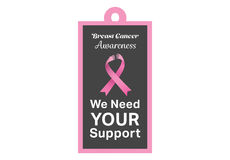 Breast cancer awareness message on poster Stock Images