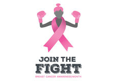 Breast cancer awareness message. On white background Royalty Free Stock Images