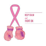 Breast Cancer Awareness Month Background. Boxing gloves hanging on breast cancer awareness ribbon. Flyer, poster with line icon on abstract watercolor texture Stock Images
