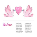 Breast Cancer Awareness Month Background. Flying doves with a heart. Breast cancer awareness flyer, poster with thin line icon on abstract watercolor texture Stock Photography