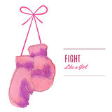 Breast Cancer Awareness Month Background. Pink hanging  boxing gloves.  Breast cancer awareness flyer, poster with thin line icon on abstract watercolor texture Royalty Free Stock Photo