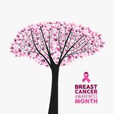Breast cancer awareness month pink ribbon tree art Royalty Free Stock Photography