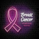 Breast Cancer Awareness Month Emblem, Pink Ribbon Symbol Royalty Free Stock Photo