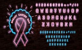 Breast Cancer Awareness Month Emblem, Pink Ribbon Symbol. Neon Lamp Glow Stylization on Black Brick Wall. Template for Banner, Pos. Ter, Invitation, Flyer with Royalty Free Stock Images